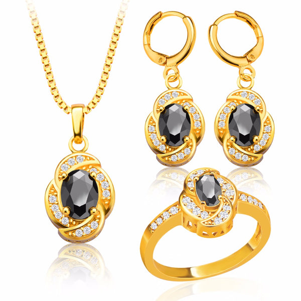 Gold Color Earrings Ring Necklace Set For Women charm