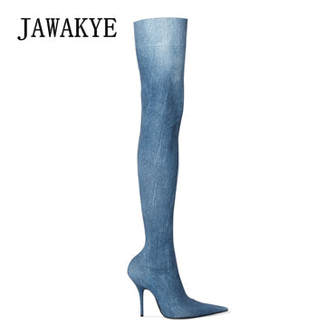 The Knee High Boots Women High Heels Boots Female Denim Jeans shoes Slim Long boots Fashion Thigh High Jeans Boots