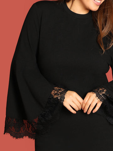 Plus Mock-Neck Lace Trim Dress