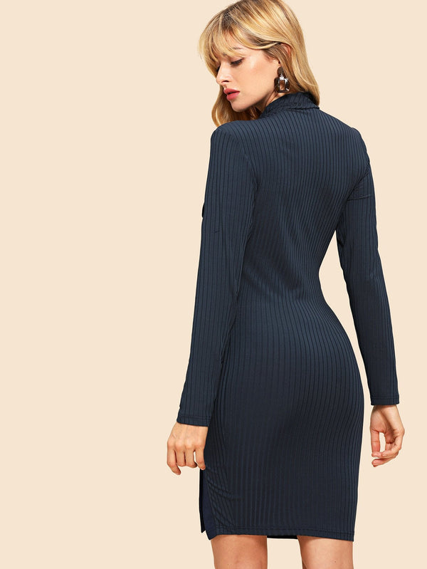 70s Ribbed Knit Buttoned Dress