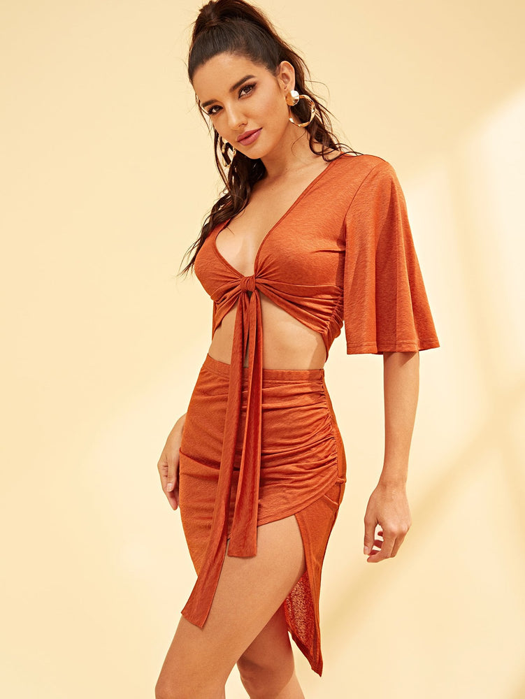 Knot Front Cutout Top & Skirt Set
