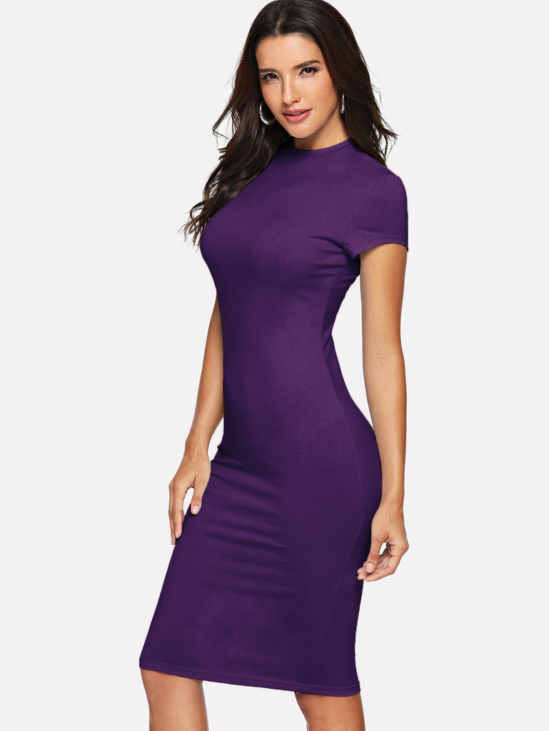 Short Sleeve Knee Length Bodycon Dress