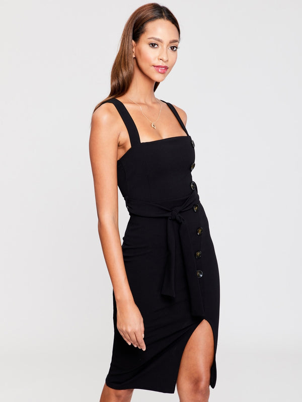 Button Detail Self Belted Split Dress