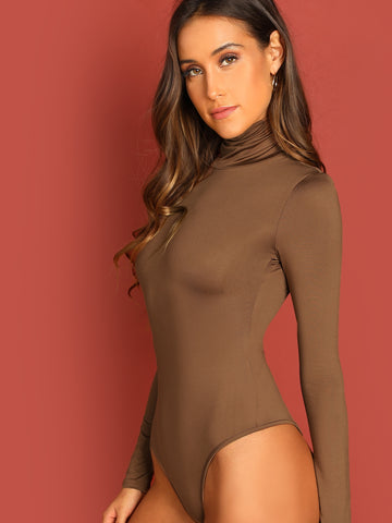 High Neck Slim Fitted Bodysuit