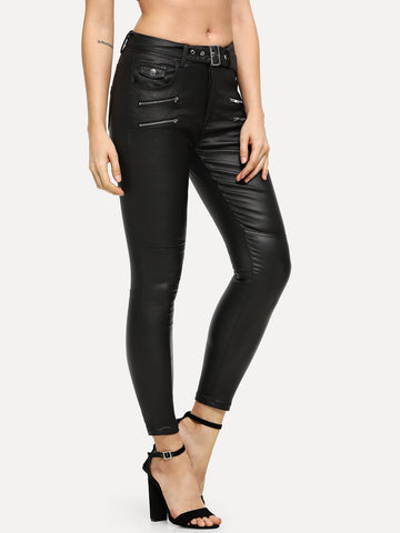 PU Zip Decoration Belted Pants