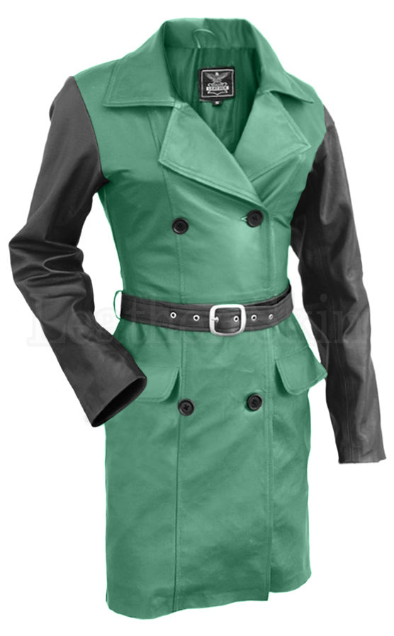 Women Green Leather Coat
