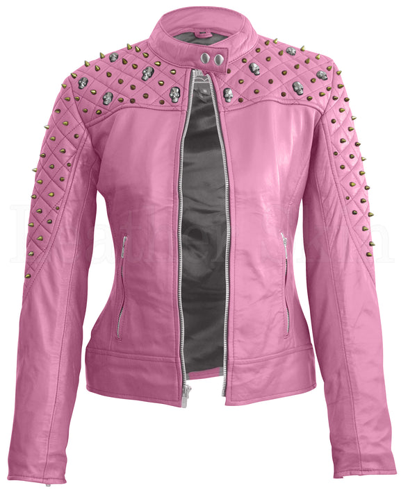 Women Pink Skeleton Studs Leather Jacket