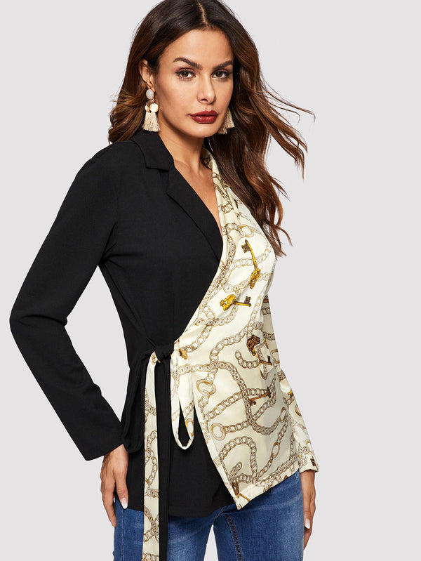 Notch Collar Chain Print Wrap Knot Blazer