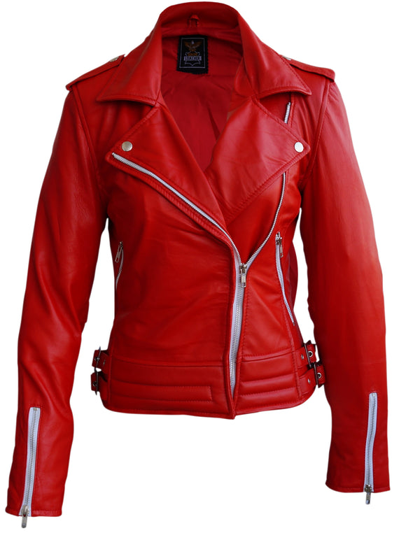 Women Red Brando Leather Jacket