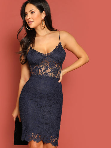 Floral Lace Overlay Cami Dress