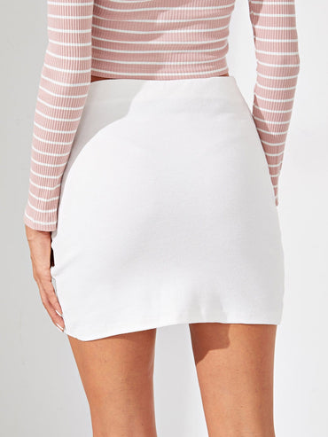 Wrap Split Front Solid Skirt