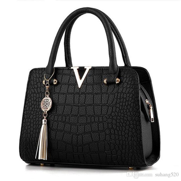 Crocodile leather Women Bag V letters Designer Handbags Luxury quality Lady Shoulder Crossbody Bags