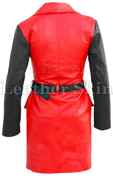 Women Red Black Sleeves Leather Coat