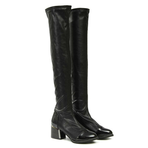 Women Casual Over The Knee Boots Round Toe Platform Boots
