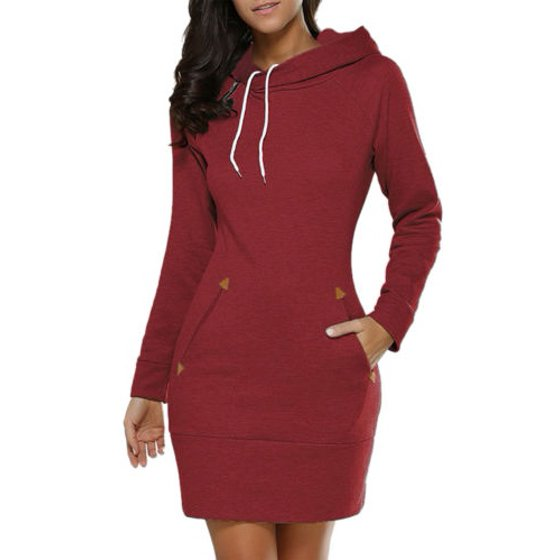 Women Hooded Hoody Dress Winter Casual Jumper Long Sleeve Pullover Tops Sweater Sweatshirt