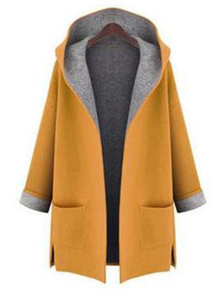 L-5XL Women Solid Color Autumn Winter Hooded Pockets Coats