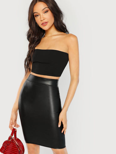 Wide Waistband Solid Skinny Skirt