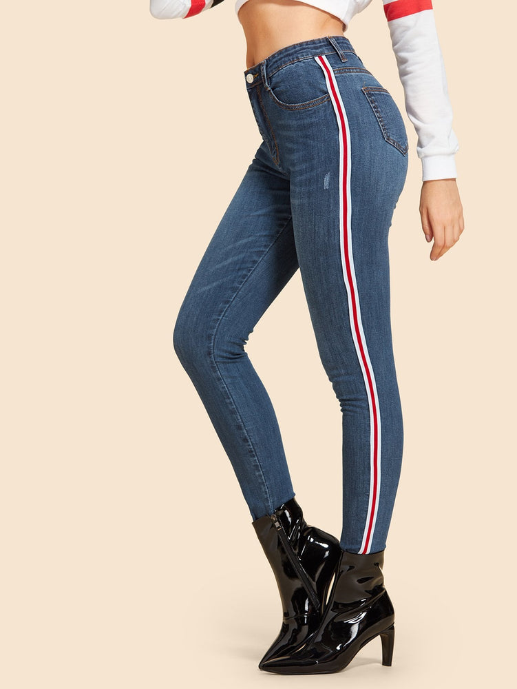 Contrast Striped Tape Side Jeans
