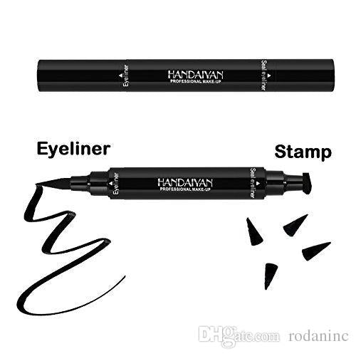 Eyeliner Stamp 2 Pens Double-sided Winged Eyeliner Pencil, Waterproof Smudgeproof Long Lasting Liquid Eyeliner Pencil, Vamp Style Wing
