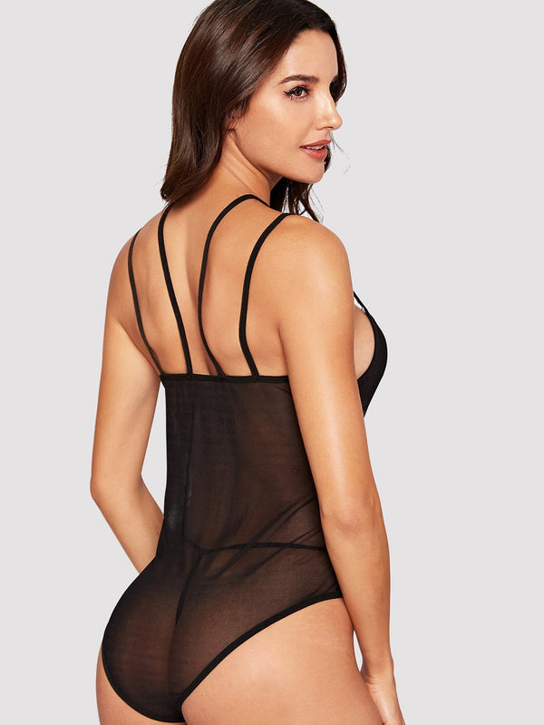 Sheer Mesh Teddy Bodysuit