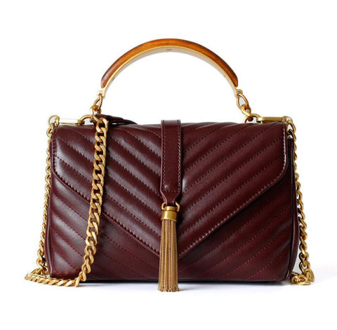 Leather Diamond Crossbody Bags High Quality Vintage Chain Crossbody Bags
