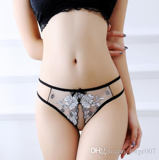 Ms. Sexually Opened Underwear Panties Mesh Transparent European and American Thongs Open Embroidered Flower T Pants