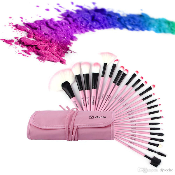 NEW 24Pcs Makeup Brushes Set Pink Beauty Stylish Cosmetics Eyebrow Shadow Powder Pincel Make Up Maquiagem Tools + Pouch Bag