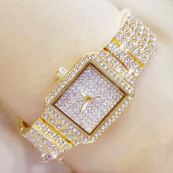 Full Diamond & Silver Watches Crystal Square Female Wristwatch.