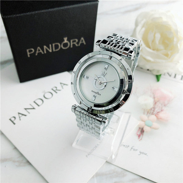 Ladies simple rotating dial style metal steel strap quartz watch with box.