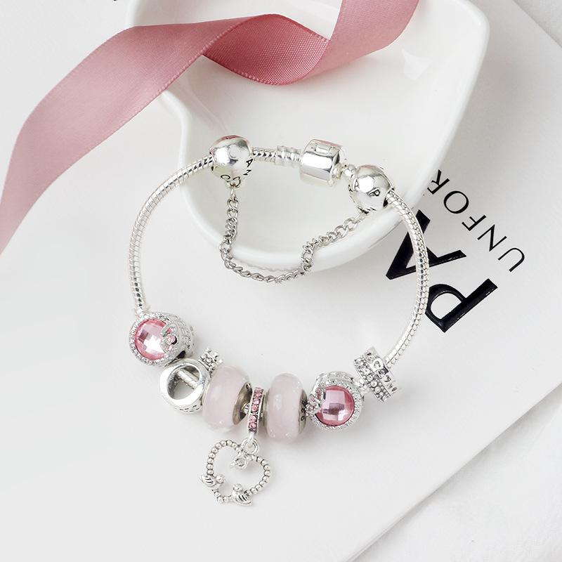 Charm bead alloy silver plated bracelet Suitable for Pandora style O letter crown jewelry.