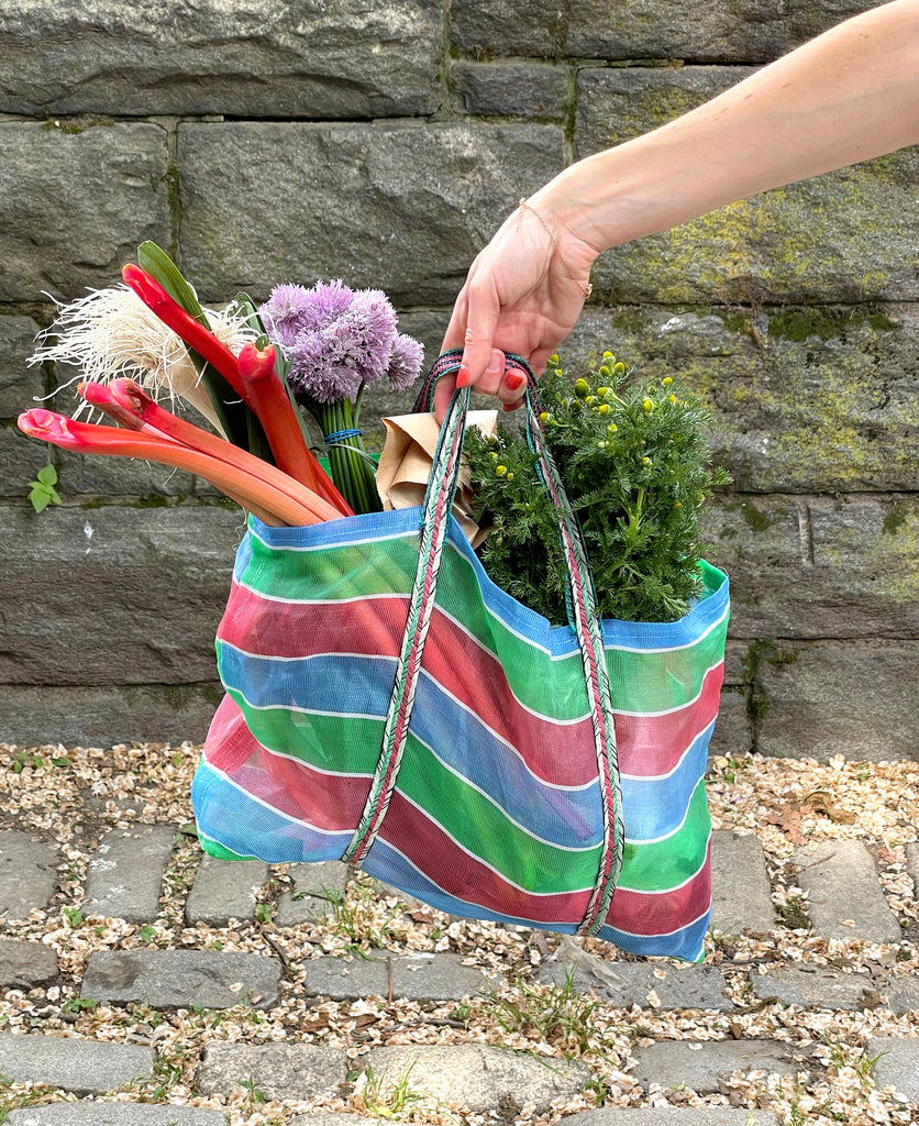 A photo of a bag of produce and groceries from the farmers market chives and rhubarb