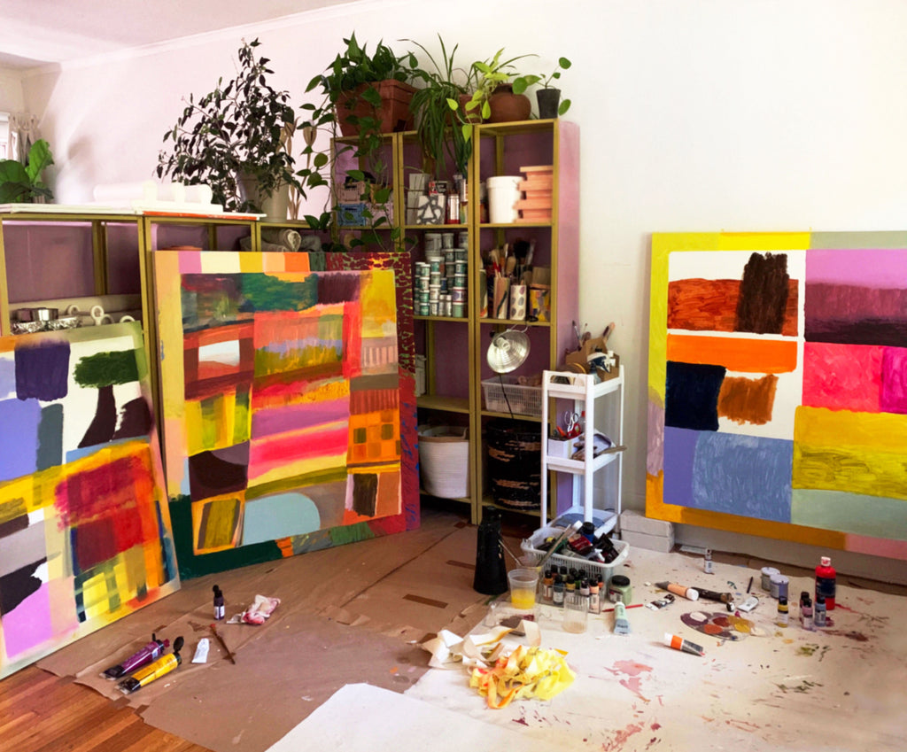 Amanda Lucia Cote Studio in La with paintings made of acrylic and oil paint