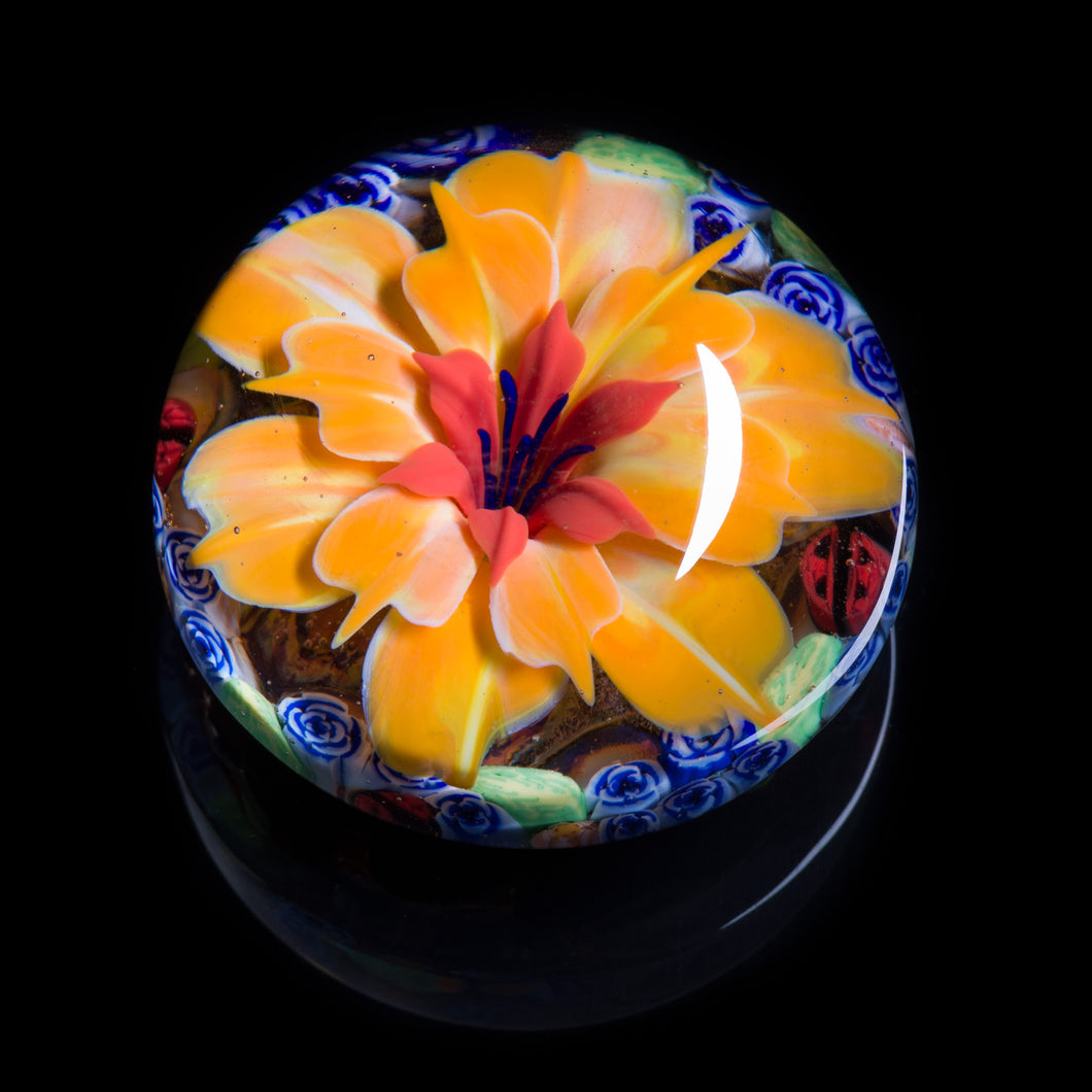 Artisan flameworked Lampwork glass Yellow/Orange Flower Paperweight