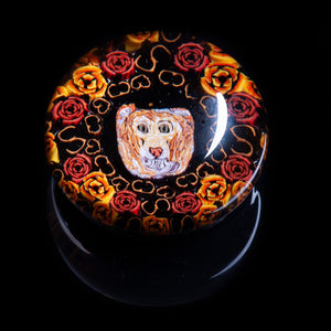 Artisan flameworked Lampwork glass Regal Lion Paperweight