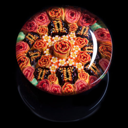 Artisan flameworked Lampwork Glass Orange Butterfly Millefiori Paperweight