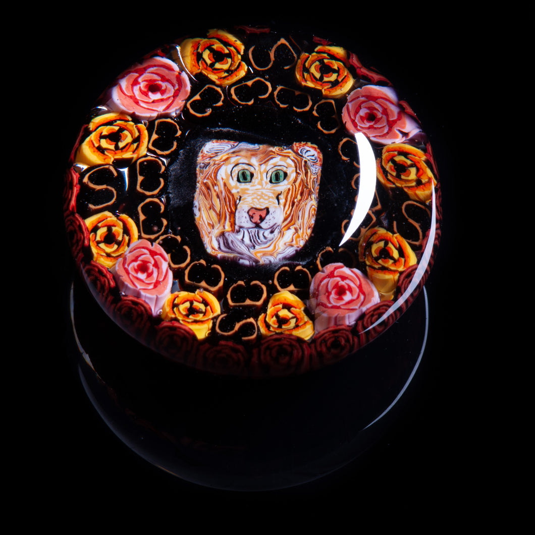 Artisan flameworked Lampwork glass Lion with Pink Roses Paperweight
