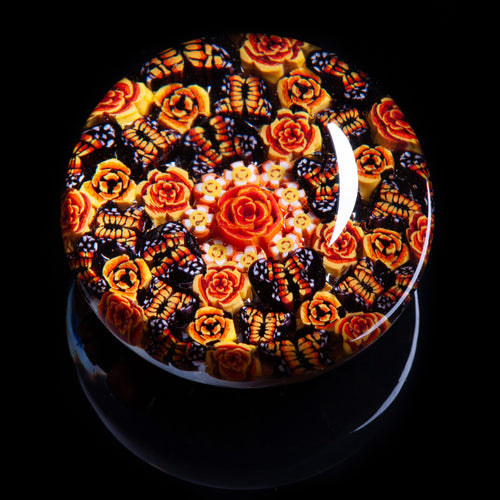 Artisan flameworked Lampwork Glass Orange Monarch Butterfly Millefiori Paperweight