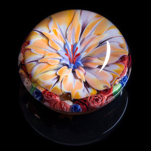 Artisan flameworked Lampwork glass Yellow/Cream Flower Paperweight
