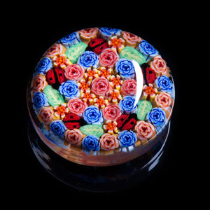 Artisan flameworked Lampwork Glass Pastel Pink and Blue Roses Millefiori Paperweight