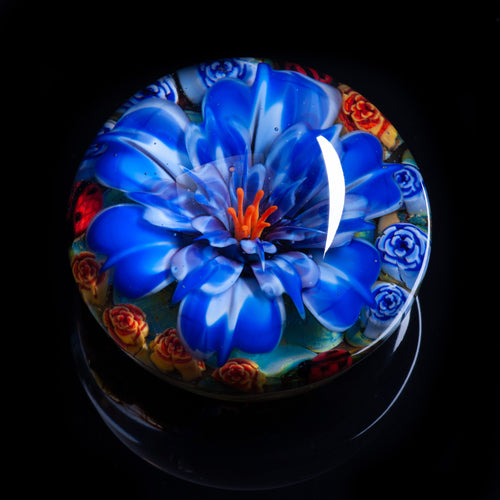 Artisan flameworked Lampwork glass Dark Blue Flower Paperweight