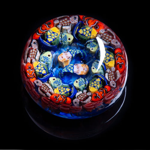 Artisan flameworked Lampwork glass Mermaids Fish Turtle Ocean Millefiori Paperweight