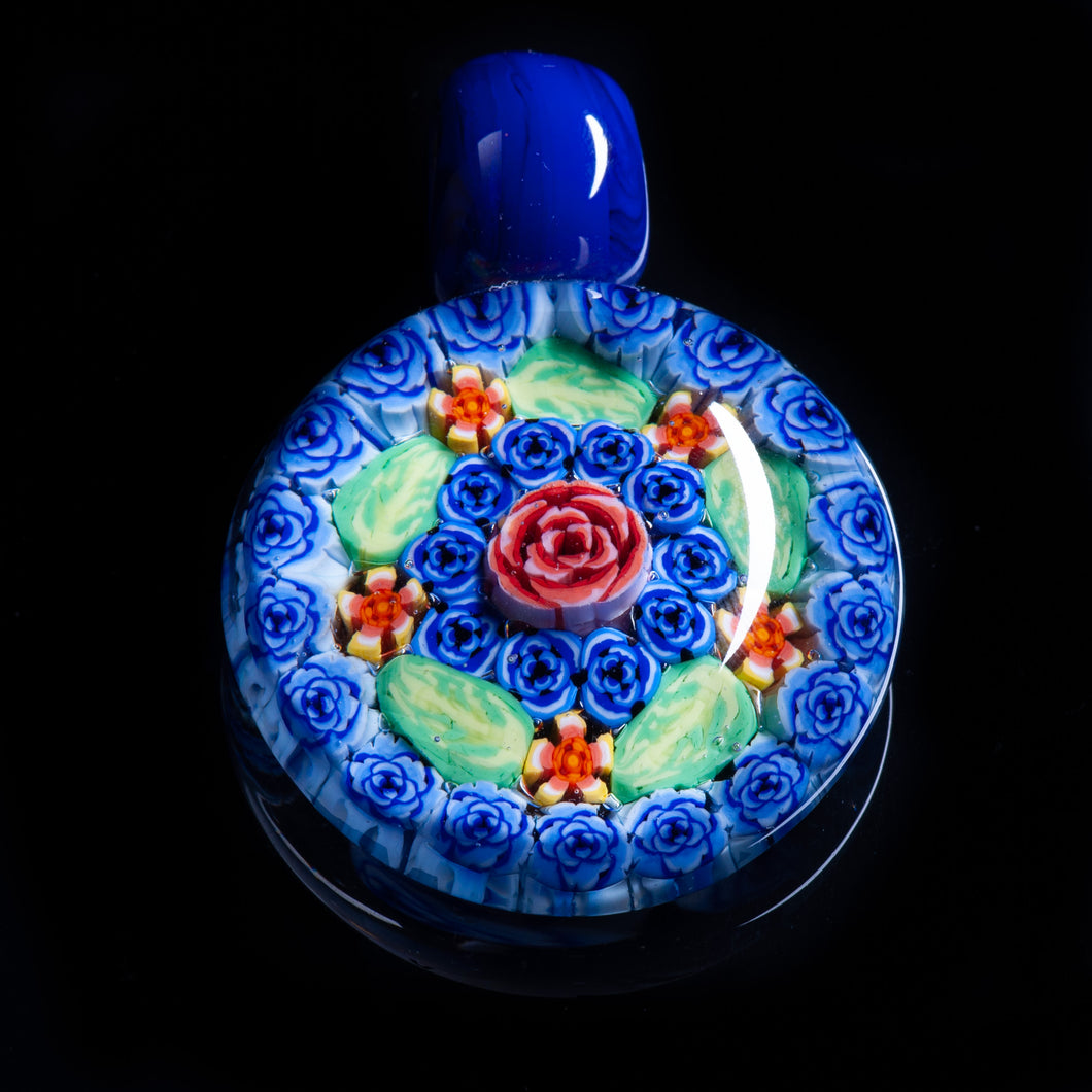 Artisan Dark Blue Milliefiori Lampwork Flamework glass pendant necklace