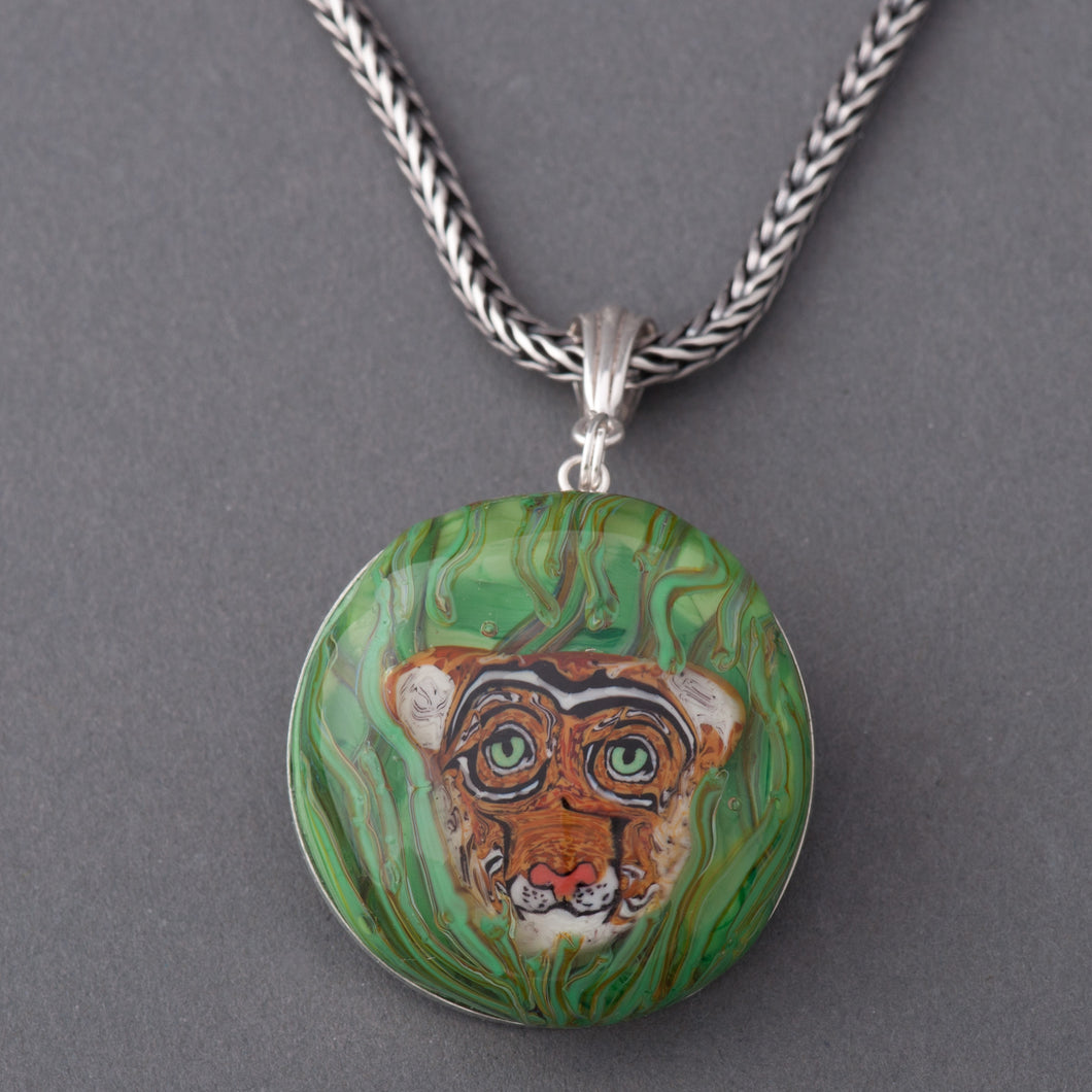 Artisan Cougar Lampwork Flamework Glass pendant necklace