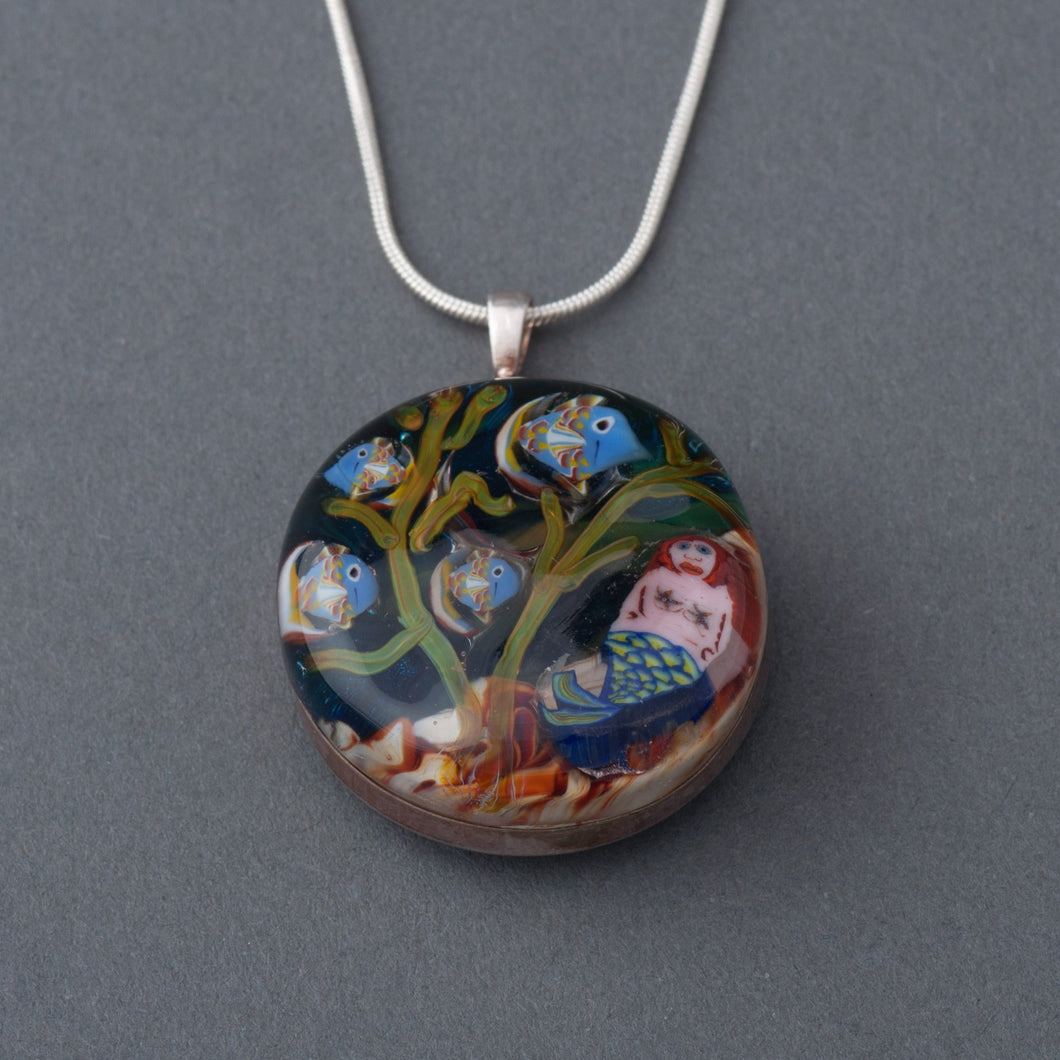 This Artisan Mermaid and Fish Lampwork Flamework Glass pendant necklace