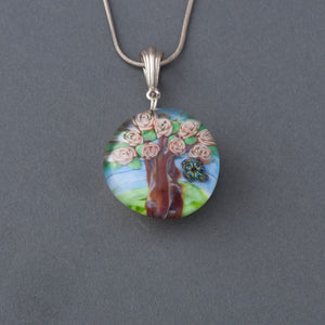 Artisan Rose Tree and Butterfly Lampwork Flamework glass pendant necklace