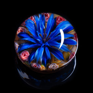 Artisan flameworked Lampwork glass Sparkle Blue Goldstone Flower Paperweight