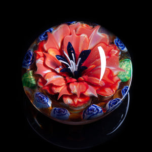 Artisan flameworked Lampwork glass Blue Goldstone and Pink Flower Paperweight