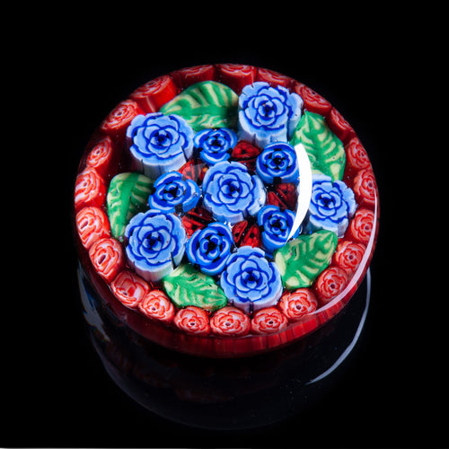 Artisan flameworked Lampwork Glass Blue Cabbage Roses Millefiori Paperweight