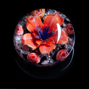 Pink Flower Memorial Ashes Paperweight
