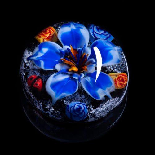 Blue Flower Memorial Ashes Paperweight
